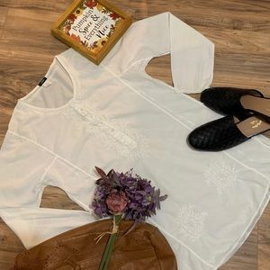 J. Crew Ivory Embroidered Tunic Size Small